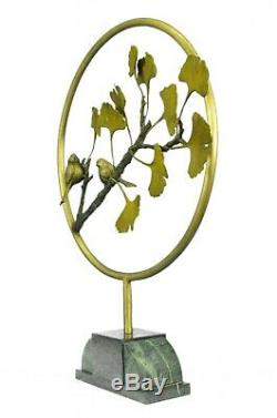 Pretty Bird Original Signed Pure Bronze On Marble Figurine Statue