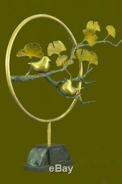 Pretty Bird Signed Limited Edition Genuine On Marble Figurine Bronze Art