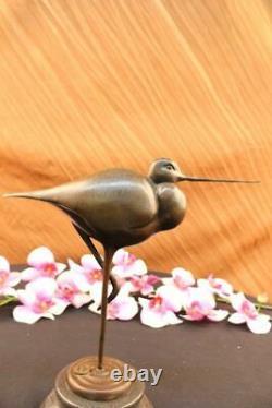 Pretty Signed Original Bird Pure Bronze On Marble Base Art Deco Figure