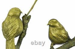 Pretty Signed Original Bird Pure Bronze On Marble Figure Sculpture Statue