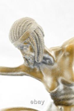 Pure Bronze Art Deco Dancer Scarf Signed Mirval Sculpture Statue Marble
