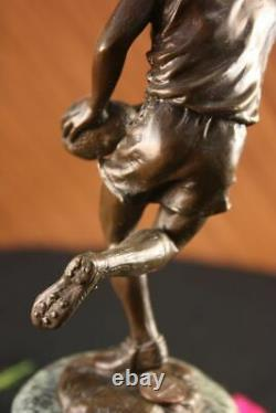 Pure Bronze Signage On Marble NFL Rugby Athlete Figure Sculpture Decor