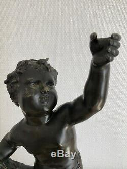 Rare 2 Large Bronze Sculptures Door Nineteenth Flare Signed Clodion 51.5 CM