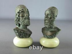 Rare Beautiful Statues Bust Powder Marble Skating Bronze Signed Onyx Socle