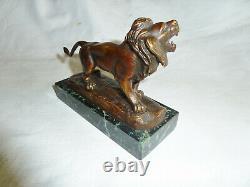 Rare Bronze Animalier Le Lion Who Rugis Signed Charles Aubert Epoque 19th Bronze