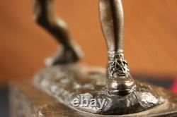 Rare Finish Vintage Bronze Signed Sculpture Statue Tennis Player Marble Base Gift
