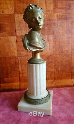 Rare Golden Bronze Woman Bust On Marble Base Signed Eugene Hazart