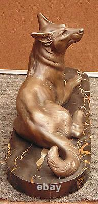 Rare Old Large Dog Signed Carvin / Marble Base Magnificent Bronze Or Regulated