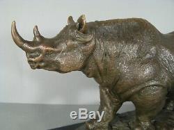 Rhino Contemporary Sculpture Signed Bronze Bubian Statue Animalière
