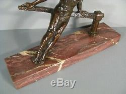 Sailor Helmsman Athlete Nude Sculpture Art Deco Bronze Signed Marcel Guillemard