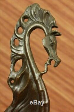 Salvatore Dali Signed Modern Abstract Horse Bronze Sculpture Marble