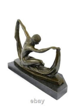 Scarf Dancer Pure Bronze Art Deco Signed Mirval Sculpture Statue Marble