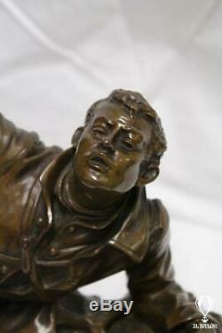 Sculpture Bronze Edouard Drouot (1859-1945) Military Sculpture On Marble Base