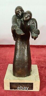 Sculpture In Bronze. Base In Marble. Vancella. Nurse Care Award. 1985