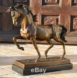 Sculpture / Medici Horse Bronze On Marble Base Signed -nachguss
