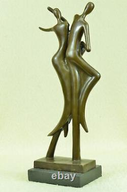 Signed Abstract Must We Dance Bronze Sculpture By Milo Marble Base Figure Art