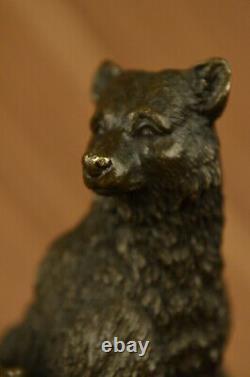 Signed Art Deco Black Bear Family Bronze Sculpture Marble Statue Figure