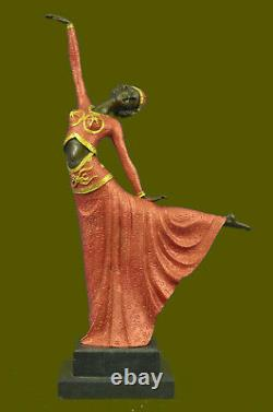 Signed Art Deco Chiparus Belly Dancer Bronze Marble Sculpture Figurine Statue