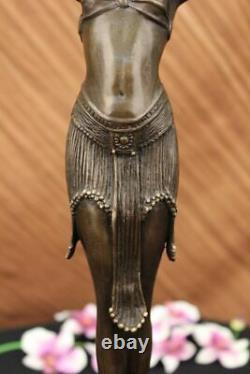 Signed Art Deco Chiparus Belly Dancer Case Bronze Marble Statue