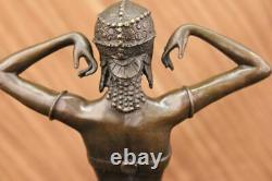 Signed Art Deco Chiparus Vente Dancer Marble Case Sculpture Bronze Statue