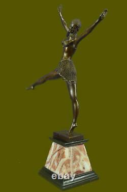 Signed Art Deco Chiparus Ventre Dancer Bronze Marble Sculpture Statue Figure