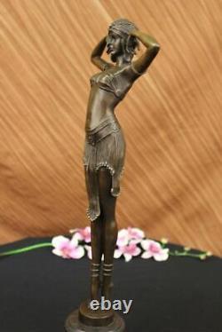 Signed Art Deco Chiparus Ventre Marble Dancer Case Bronze Sculpture Statue