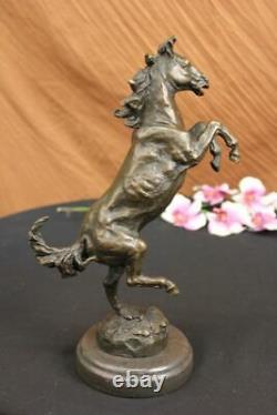 Signed Art Deco Livestock Horse Bronze Sculpture Marble Base Statue Lost Cire Deal