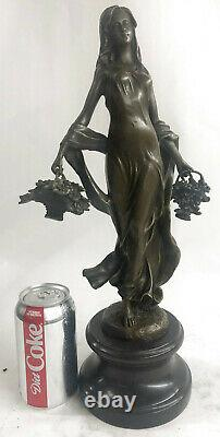 Signed Art Deco Young Woman With Fruit Baskets Bronze Marble Statue Figure