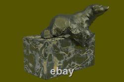 Signed Assis Polar Bear Bronze Book Fin Deco Marble Sculpture Statue