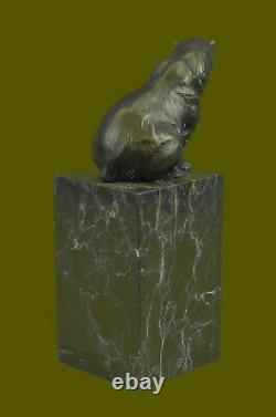 Signed Assis Polar Bear Bronze Book Fin Deco Marble Sculpturework
