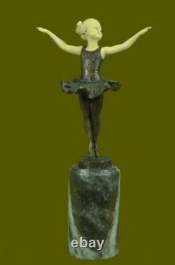 Signed Baby Girl On Scene Bronze Os Marble Sculpture Statue Figure Nr