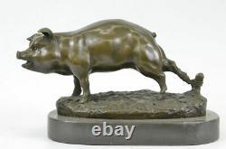 Signed Barye Animal Farm Company Pig Marble Base Figure Nr Bronze