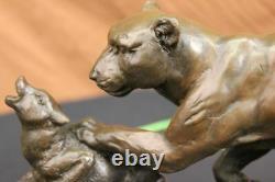 Signed Barye Jaguar Bronze Attacks Statue Marble Figure Base Sculpture Deco