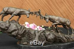 Signed Barye Large Two Reindeer Antler Deer Bronze Sculpture Figurine Marble Base