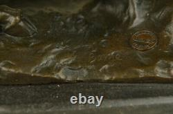 Signed Barye Panther Forward Giselle Bronze Marble Sculpture Statue Figure