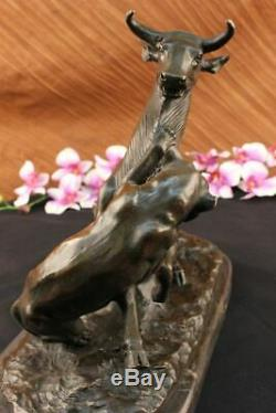 Signed Barye Panther Forward Giselle Marble Statue Bronze Deco