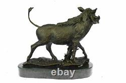 Signed Barye Sauvage Boar Sauver Bronze Marble Sculpture Figure Art Deco