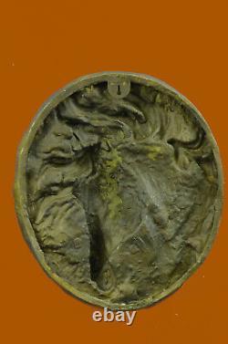 Signed Barye Unique Bronze Bust Horse Head Sculpture Marble Base Statue Decor