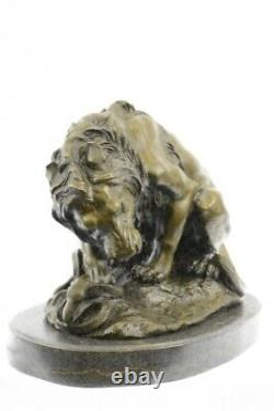 Signed Barye Very Grand Lion Bronze Snake Statue Marble Base Sculpture Art Deco