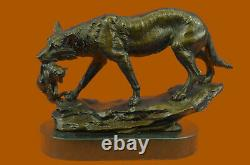 Signed Barye Wolf With Lionceau Bronze Sculpture Statue Marble Base Art Gift
