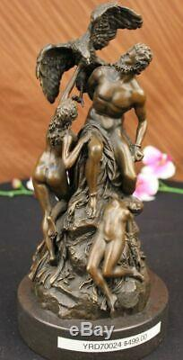 Signed Bologna Zeus With Nymphs And Eagle Bronze Statue Marble Decor