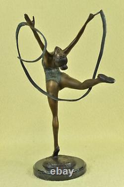 Signed Bronze Artisan Statue Art Deco Gymnast Sculpture On Marble Base