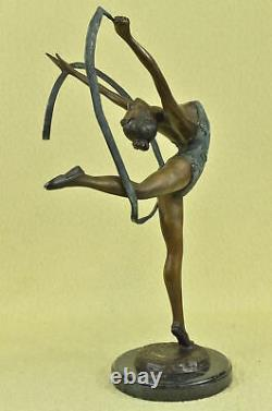 Signed Bronze Artisanal Statue Art Deco Gymnast Sculpture On Marble Base