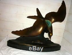 Signed Bronze Bird Circa 1930 Lorino Great About 55cm H Seabird