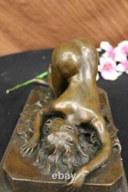 Signed Bronze Erotic Sculpture Art Deco Chair Figure Statue Marble Base