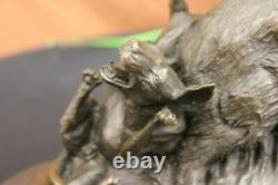 Signed Bronze Marble Wild Boar Hunting Dogs Animal Sculpture Figure Art