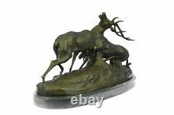Signed Bronze Reindeer Statue Hunter Deer Elks Detailed Sculpture On Marble Base