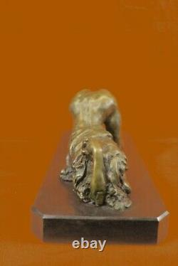 Signed Bronze Sculpture Art Deco Chair Very Detailed Erotic Statue On Marble