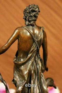 Signed Bronze Sculpture Chair Male Mythology Art Detail Statue On Marble Base