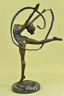 Signed Bronze Statue Craft Art Deco Gymnast Sculpture On Marble Base
